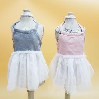 Spring Summer Dog Girl Halter Dress for Small Dog Sleeveless Solid Vest Skirt Clothes Sweety Princess Dress Puppy Wedding Dress