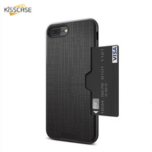 KISSCASE For iPhone 7 7 Plus Case 2 in 1 Combo Card Slot Silicone PC Phone Shell For iPhone 6 6S Plus Case Cover Accessories Bag