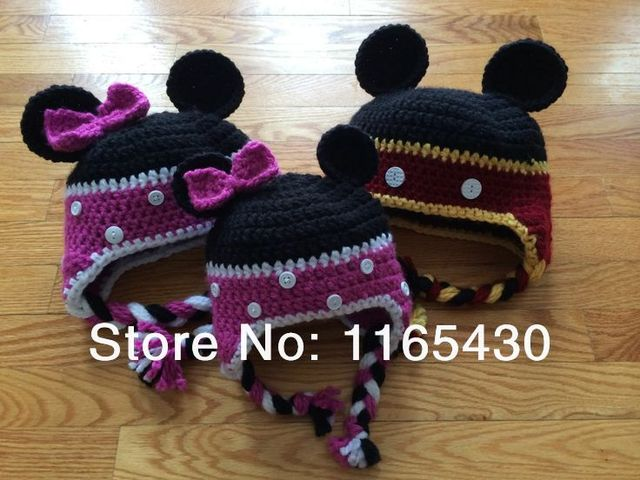 US $15 35 |Red Purple Cartoon Mouse Hat,Handmade Knit Crochet Baby Girl Boy  Animal Earflap Hat,Children Winter Hat,Toddler Photography Prop-in Hats &