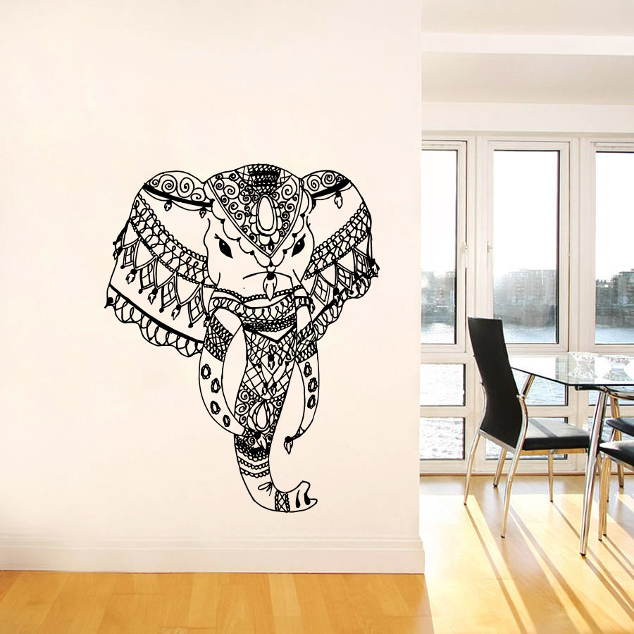 bohemian elephant head silhouette in tribal pattern art wall stickers home room special unique. Black Bedroom Furniture Sets. Home Design Ideas