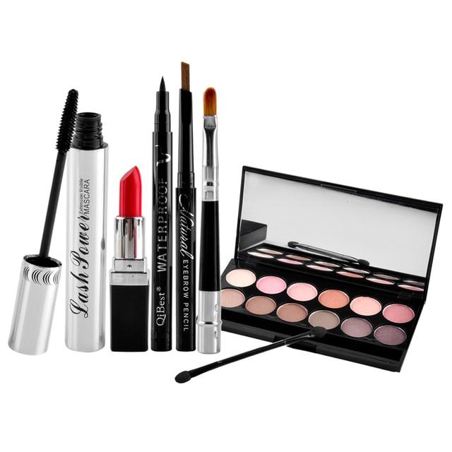 6pcs Makup Tool Kit Cosmetic Including Eyeshadow Lipstick Mascara Eyeliner Eyebrow Pencil lip brush Makeup Set
