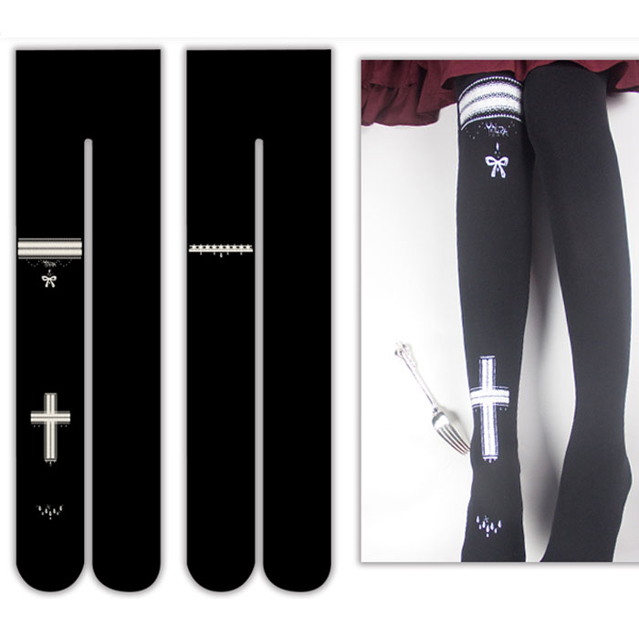 Cross Printed Thick Winter Pantyhose 300D Fleeced Tights by Yidhra