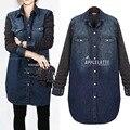 4xl mais mulheres tamanho grande primavera outono inverno 2017 casaco novo ponto camisa jeans feminina denim casaco jaqueta feminina A2456
