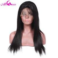 Ali Coco 130% Densité Avant de Lacet Perruques Brésilienne Droite de Cheveux Humains Perruques Pour Les Femmes Noires Naturel Noir 8-24
