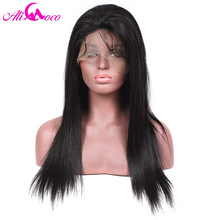 Ali Coco 130% Density Lace Front Wigs Brazilian Straight Human Hair Wigs For Black Women Natural Black 8-24′ inch
