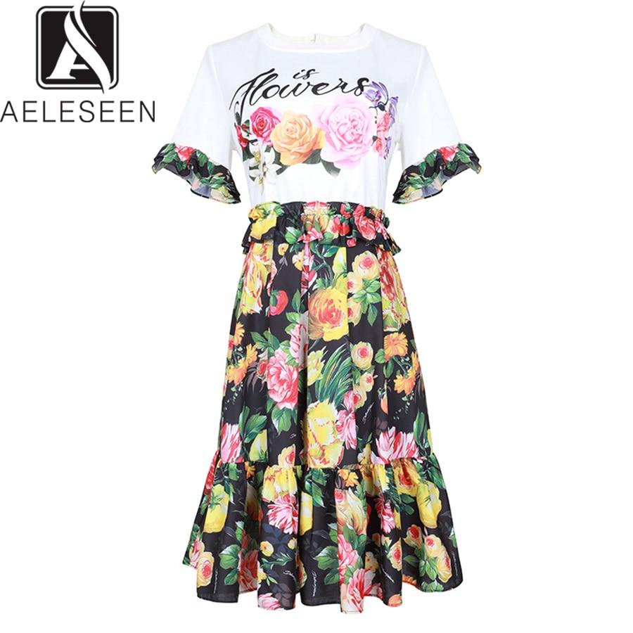 AELESEEN 2019 robe d'été plage Rose imprimé papillon manches haut blanc Patchwork Floral haute qualité Mini robes femmes