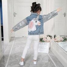 Unicórnio Denim Casaco para As Meninas Casacos Crianças Roupa Do Bebê Do Outono Roupas Meninas Outerwear Jean Casacos & Coats para Crianças Meninas