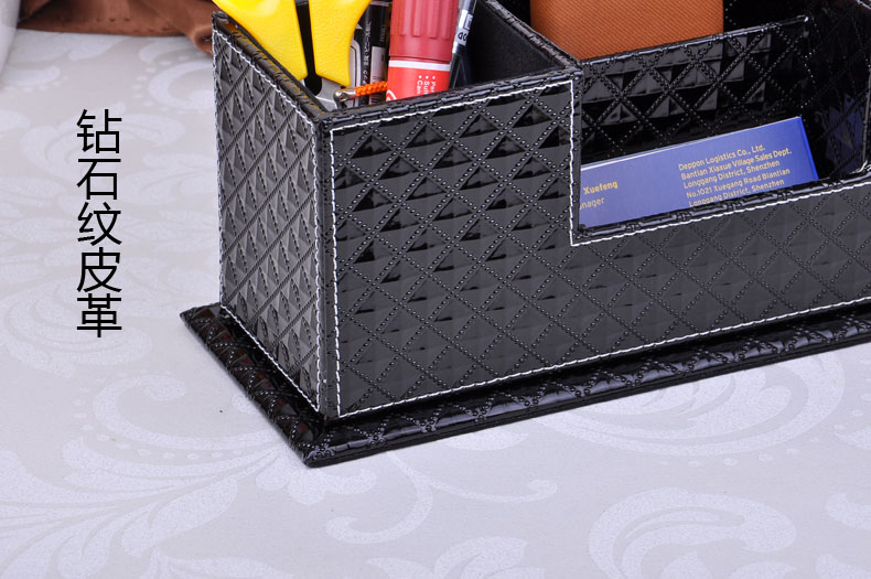 wood struction leather surface desk multi-function stationery organizer with double pen pencil holder case diamong black 202C