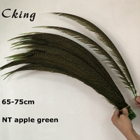 Free shipping 100pcs 65 75cm 25 30inch natural dyed Apple Green golden pheasant feather tails lady amherst pheasant feathers