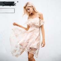 Simplee Floral Mesh Ruffle Dress Woman Sexy Off Shoulder Female Vestides Dress 2017 Summer Beach Irregular