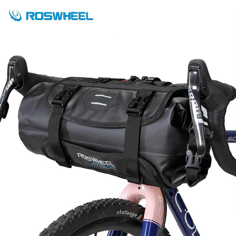 ROSWHEEL Waterproof Bike Handlebar Bag Bicycle Front Tube Pocket Bikepacking Bag 3-7L Nylon Hiking Cycling Pannier Bicycle Bags