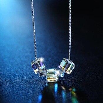 690fff5c651a Ventas calientes collares cristalinos cuadrados para las mujeres Simple  moda astilla cadena Clavicular joyería del estilo de Europa 2018 verano  nueva mujer