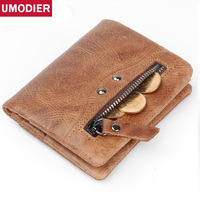 UMODIER Genuine Leather Men Wallet Small Men Walet Zipper&Hasp Male Portomonee Short Coin Purse Brand Perse Carteira For Rfid