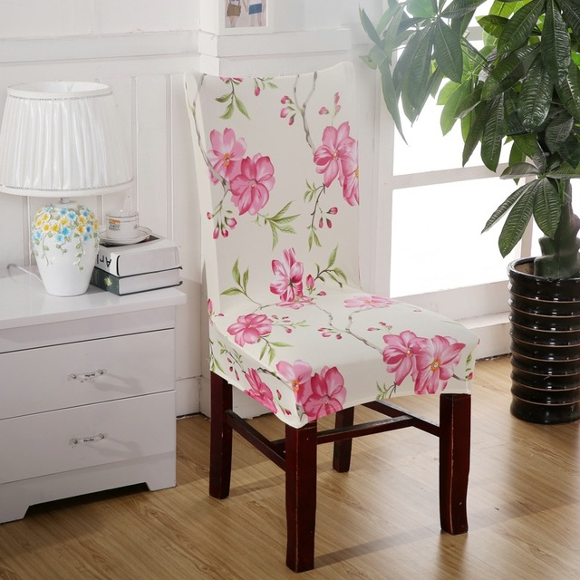 Pink Flower Chair Covers Cheap Jacquard Stretch For Dining Room Decoration Short Half Machine