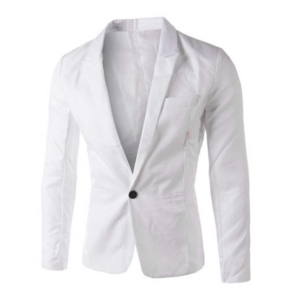 2019 新秋男性のブレザースーツ 8 色男性ブレザースーツビジネススリムフィットジャケットコートおしゃれなホワイト/ 黒/グレー M-3XXXL