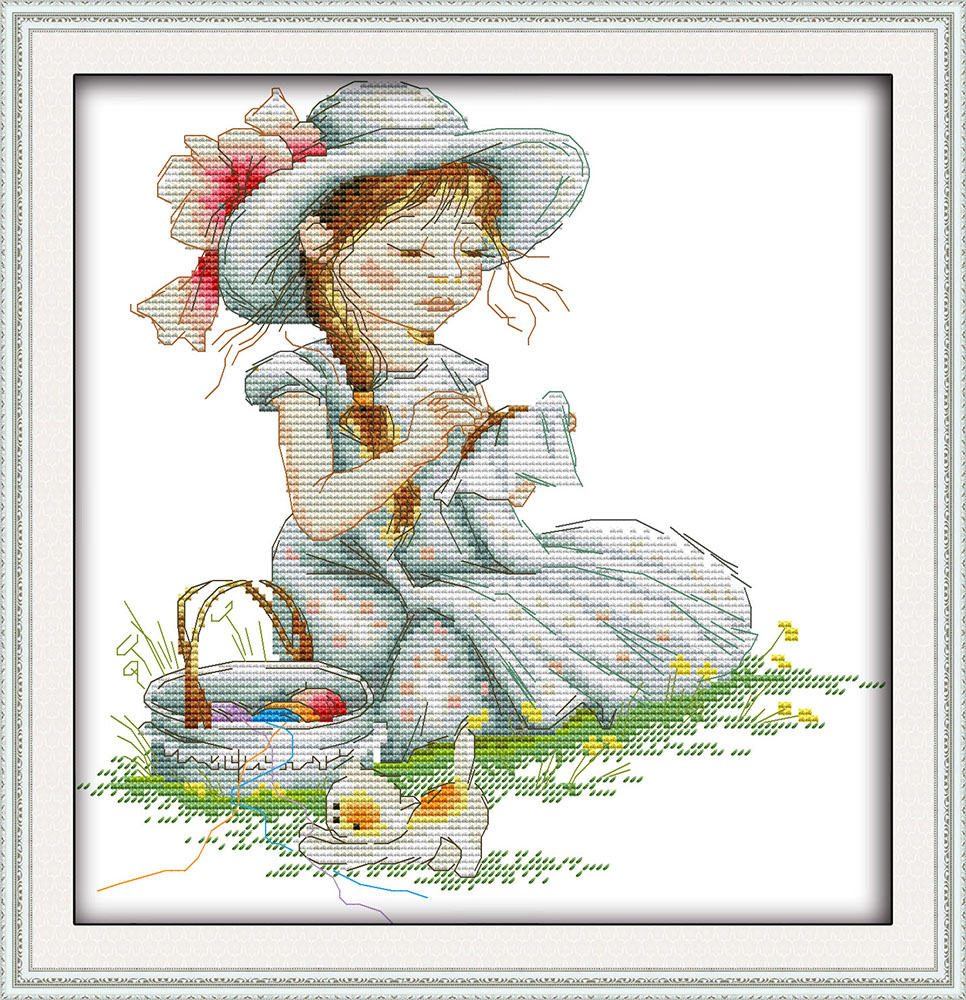 Japanese Dolly Cartoon Decor Painting Counted Printed On Canvas Dmc 14ct 11ct Chinese Cross Stitch Needlework Set Embroider Kits Home & Garden Cross-stitch