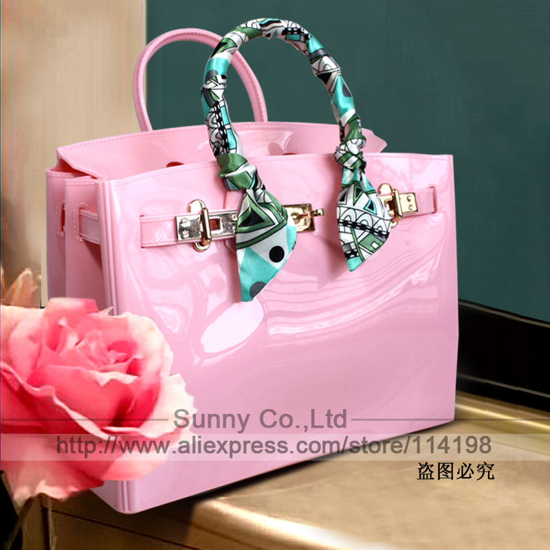 High quality luxury fashion summer beach bag jelly candy color bag women tote ca