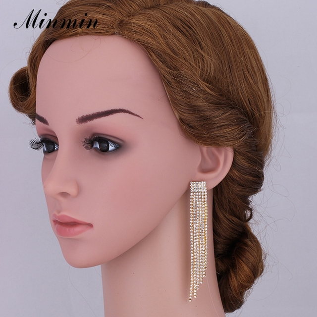Minmin Bridal Jewelry Sets Gold Plated Wedding Bracelets Long Tassel Earrings African Beads Sets for Women Gifts EH424+SL076