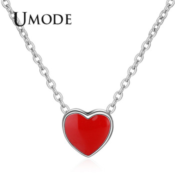UMODE New 2018 Cute Heart Long Link Pendant Necklace for Women White Gold Chains Girls' Fashion Jewelries Red Stone Gift AUN0294