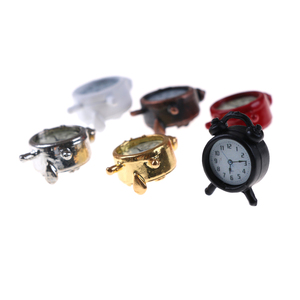 Image 5 - 1/2PCS Lovely 1:12 Scale Alarm Clock Mini Dollhouse Miniature Toy Doll Kitchen Living Room Accessories Home Decoration 6 Colors