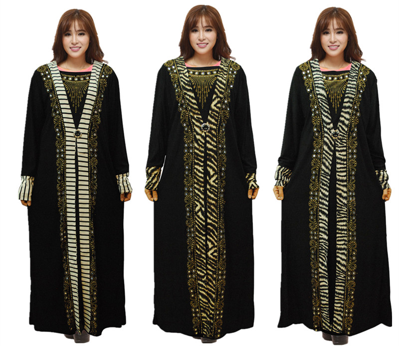 New Muslim Hot Drill Loose Kaftan Dress Islamic Abaya Maxi Arab Clothes