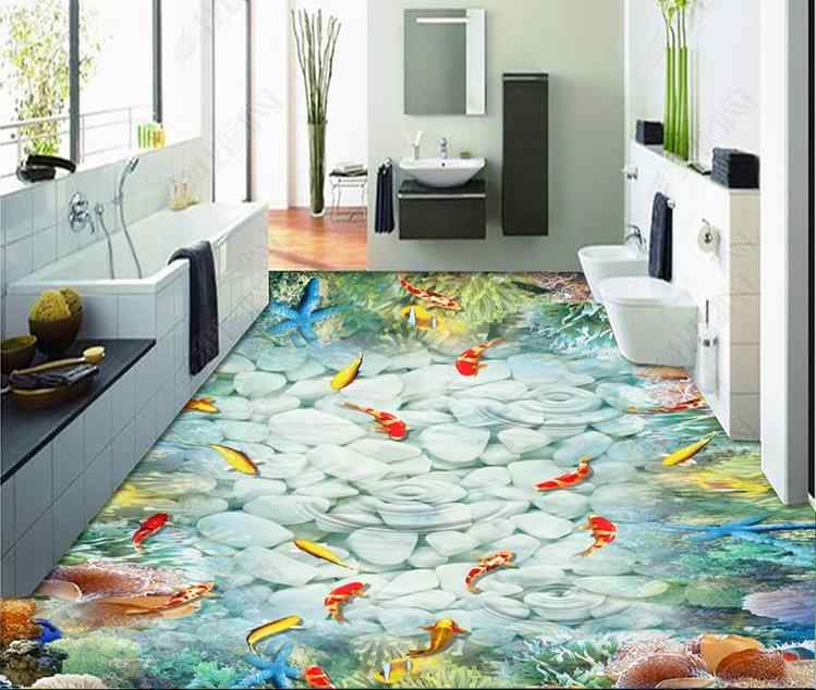 Personalizado 2019 3D papel pintado de suelo 3D pvc mar delfín pared murales con pinturas papel pintado de suelo para la habitación de los niños
