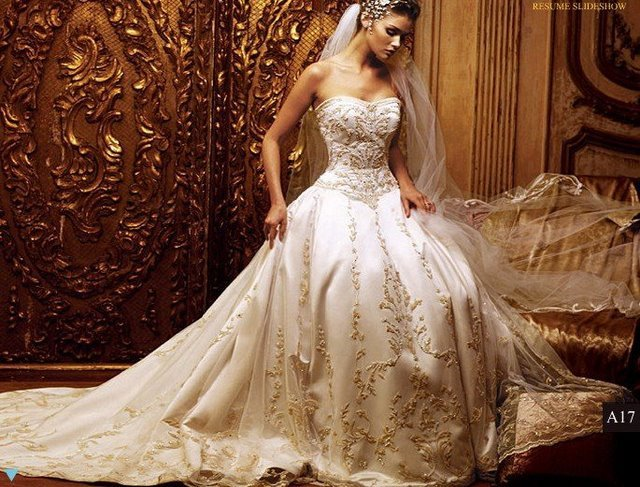 Beautiful Wedding Dress Custommade Strapless Fangle Dressing Dream Grown Free Shipping Royal
