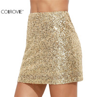 COLROVE Women Short Skirt Korean Women Clothing Sexy Clubwear Solid Gold Embroidered Sequin A Line Mini