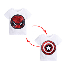 Summer Boys T-shirts Changing Color Spiderman Captain America Switchable Sequins T Shirt Children Tops Clothes hot football soccer magic switchable sequins boys t shirts kid fashion t shirt children tops clothes