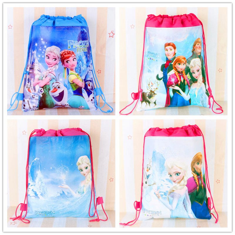 Disney Cartoon Children Frozen Bag Storage Girl Boy Birthday Gift Pocket Kid Swimming Package Cosmetic Doll Toy Bag Drawstring