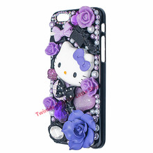 Cute Hello Kitty Crystal Pearl 3D Case For apple iphone for iphone7 plus/ 5/5s/5c/6s/6s plus