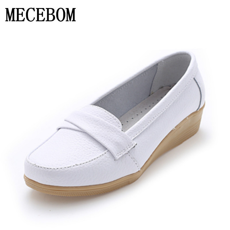 2018 Shoes Woman Leather Women Shoes Flats 3 Colors Buckle Loafers Slip On Womens Flat Shoes Moccasins Plus Size 8803W
