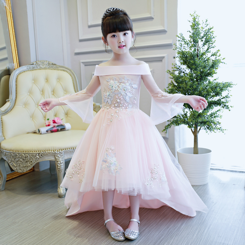 все цены на 2017 Luxury Girls Children Embroidery Lace Princess Dress With Long Tail Kids Sweet Pink Color Wedding Birthday Party Long Dress онлайн