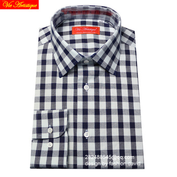 high quality plaid shirt men/women's casual cotton dress shirts long sleeves slim fit tailored plus size navy white checked VA