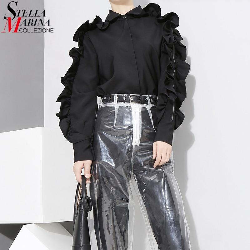 New 2017 Korean Style Women Stylish Black Blouse Shirt Long Sleeve With Ruffles Girls Cute Wear Blouse chemise femme blusas 3129