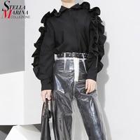 New 2017 Korean Style Women Stylish Black Blouse Shirt Long Sleeve With Ruffles Girls Cute Wear