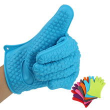 2pcs High Quality Silicone Oven Gloves Home Kitchen Cooking BBQ Heat Resistant Gloves Slip-resistant Microwave Heat Holder