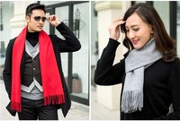 Long Solid Pure Cashmere Scarf Women Fashionable Unisex Soft Warm Formal Winter Men Shawl Luxury High Quality Scarves