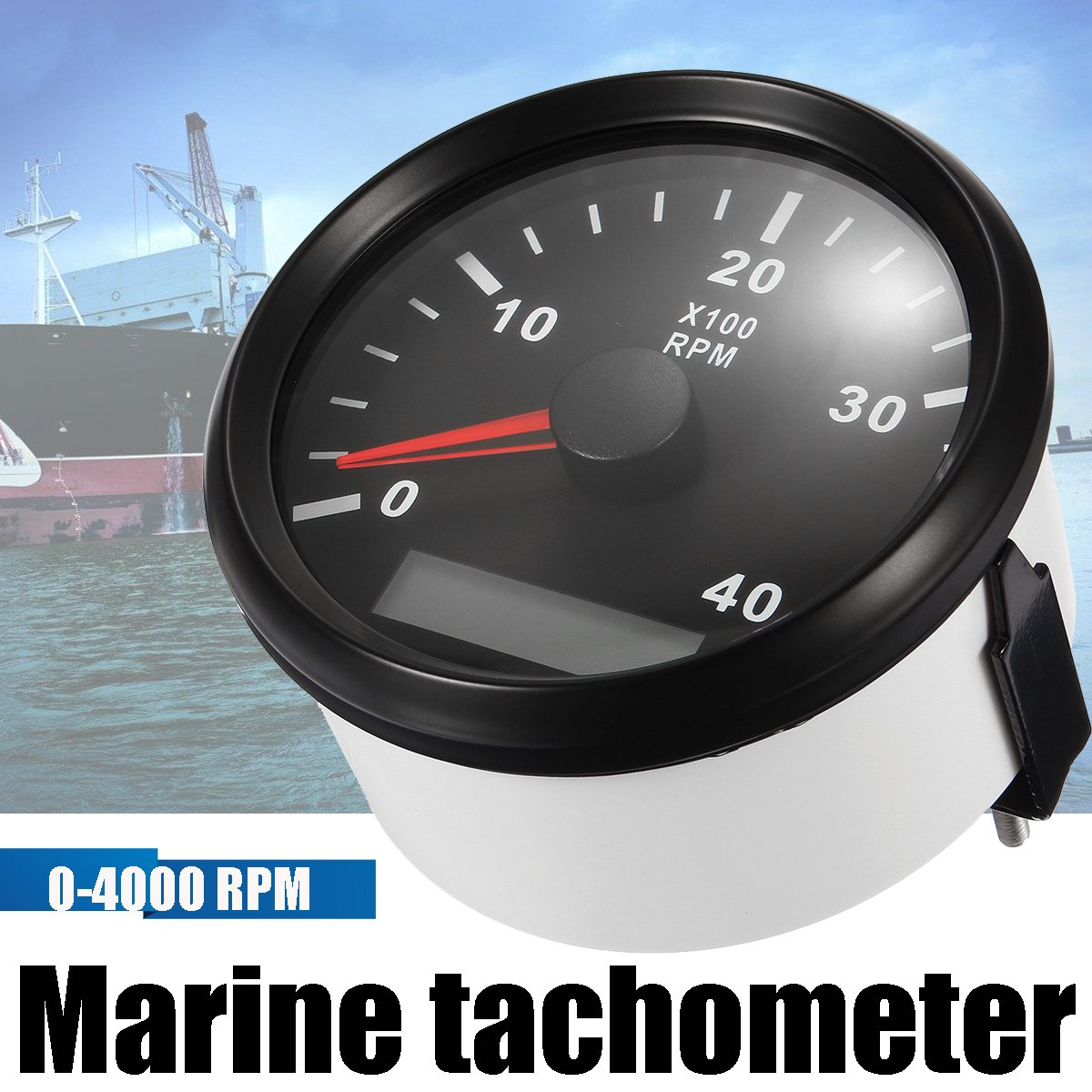 12 24v 0 4000 boat rpm 85m marine boat tachometer gauge lcd meter tacho hourmeter boat rpm white black with cable [ 1200 x 1200 Pixel ]