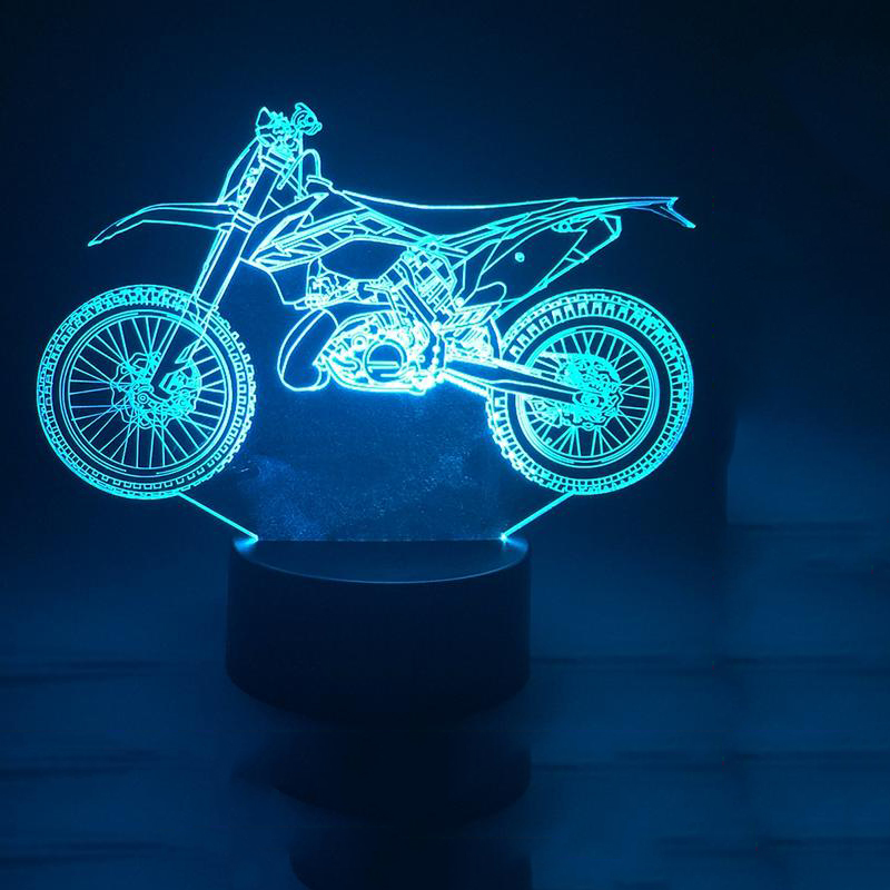 Motorcycle Modelling 3D Table Lamp 7 Colorful USB Motorcycle Fans LED NightLight Touch Switch Baby Sleep Lighting Kid Gift Decor creative led 3d nightlight hockey for kid boy gift wall decoration holiday party hockey lighting iy303166 5