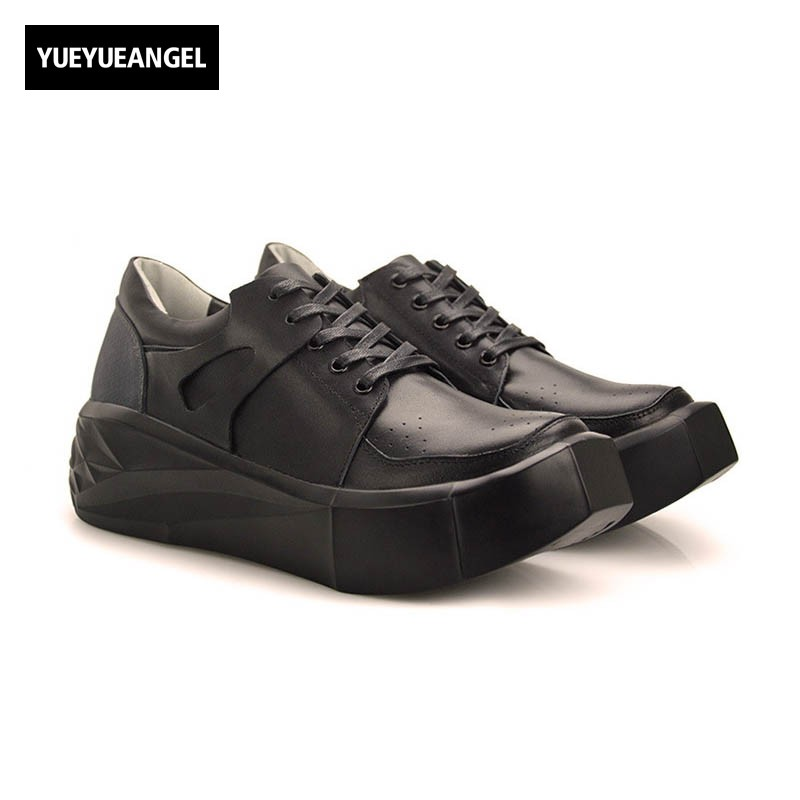 2017 Fashion Genuine Leather Shoes Men Breathable Pumps Thicken Heel Mans Footwear High Quality Lace Up Comfort Casual Zapatos bimuduiyu trend casual shoes for men fashion light breathable lace up male shoes high quality suede leather black flats shoes