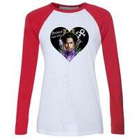 New Phong Cách Hoàng Tử Rogers Nelson Tim Mô Hình Raglan Dài Tay Áo T áo sơ mi Nữ Loose O-Cổ Shirt cho các Cô Gái Món Quà Phụ Nữ Tee Tops