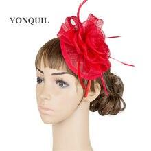 Moda femenina Fascinators sombreros para mujeres damas elegante floral  fedora accesorios headbands fancy pluma MYQ029 c4ceecd2fd33
