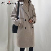 Magray Wool Blend Coat Women Long Sleeve Collar Outwear Long Jacket Korean Casual Autumn Winter Elegant Overcoat Woolen Coat 107