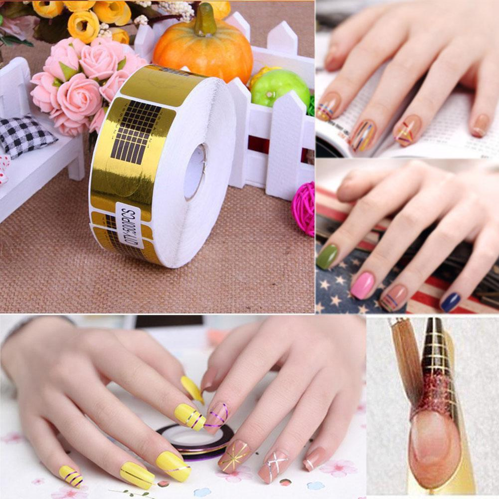 2018 500x French Tips Nail Forms Gel Polish Extension Form Acrylic ...