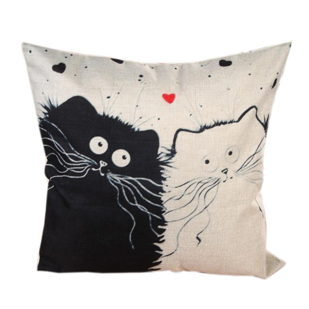 45cm*45cm Cute Cartoon Cat Printed Linen Cotton Pillow Cases Fashion Car Sofa Cushion Cover for Home Decoration