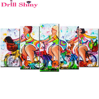 European Style Colorful Lady 3D DIY Diamond Painting Multi Pictures Combination Sexy Women 5PCS Paints Home Decoration Crafts