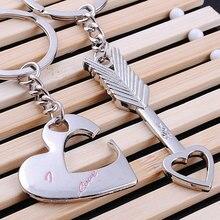 1pair New Lovers Heart Shape Keychain Cupid Arrow Couple Metal Keychain/Ring Love Gift   @ CX17