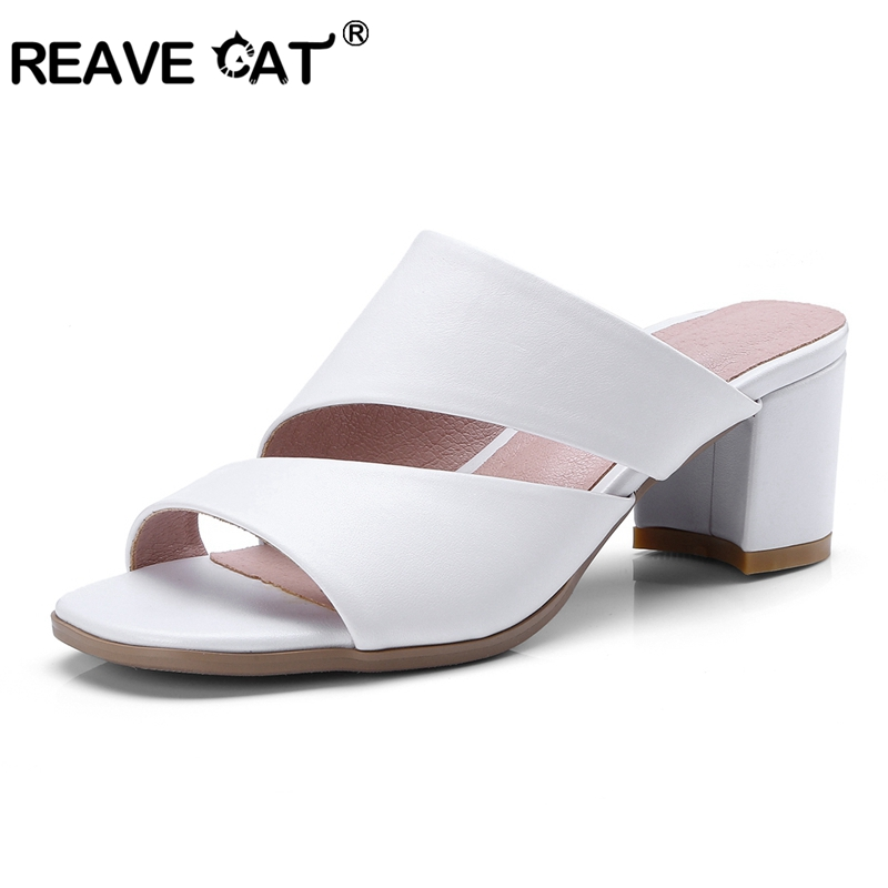4c756f1bc30b8e REAVE CAT Women Sandals Genuine Leather Shoes Ladies Summer Slippers Shoes  Women High Heels Open toe Thick heel Mulers A571-in High Heels from Shoes  on ...