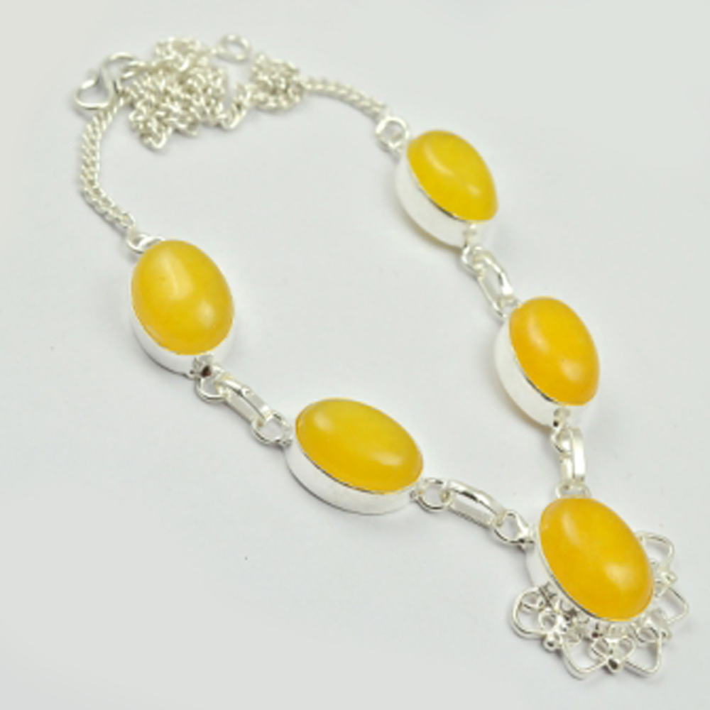 Желтое ожерелье из агатов серебряное покрытие над медью, 44 см, N2727 Цепочки      АлиЭкспресс